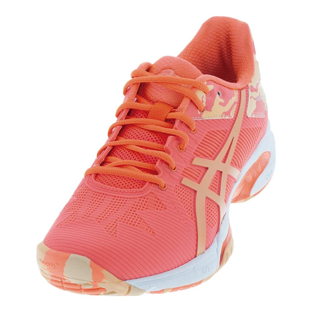 Women's Gel- Solution Speed 3 Le Tennis Shoes Flash Coral And Cateloupe