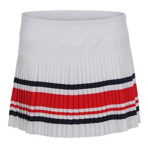 Women`s Heritage Pleated Tennis Skort White and Chinese Red
