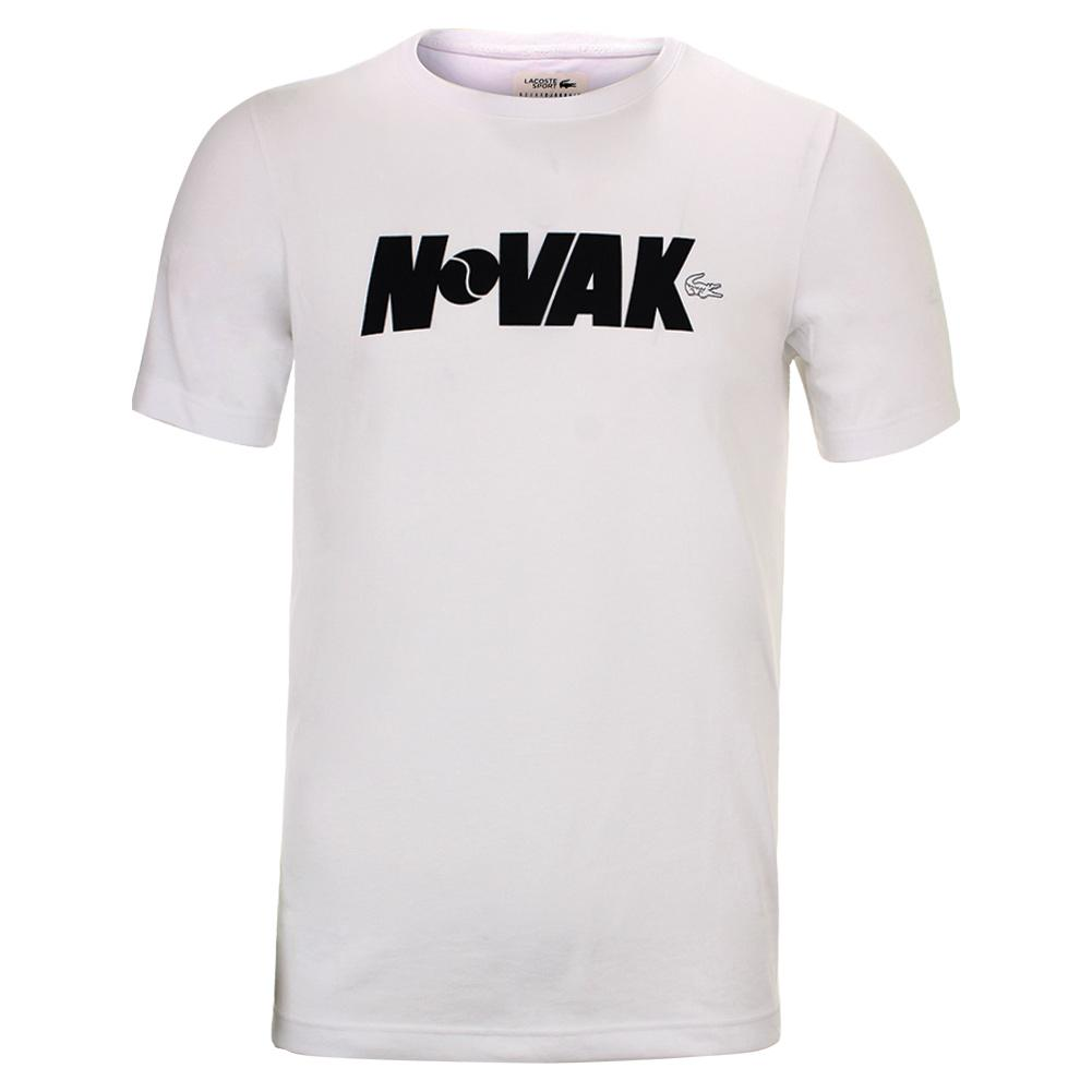 9b40efb4d627 Lacoste Boy s Novak Fan Writing Print Tennis Tee