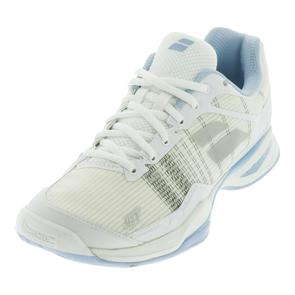 Women's Jet Mach 1 All Court Tennis Shoes White And Sky Blue