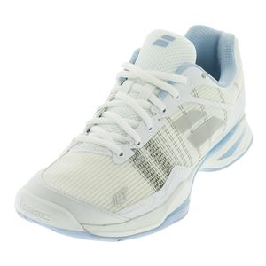 Women`s Jet Mach 1 All Court Tennis Shoes White and Sky Blue