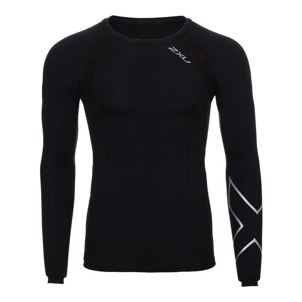 Men's Long Sleeve Compression Top Black And Silver