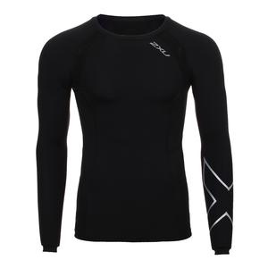 Men`s Long Sleeve Compression Top Black and Silver