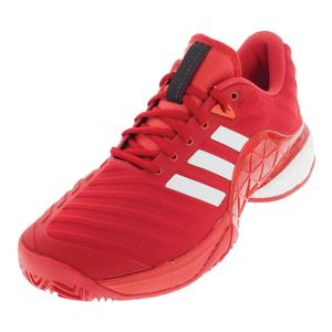 Men`s Barricade 2018 Boost Tennis Shoes Scarlet and White