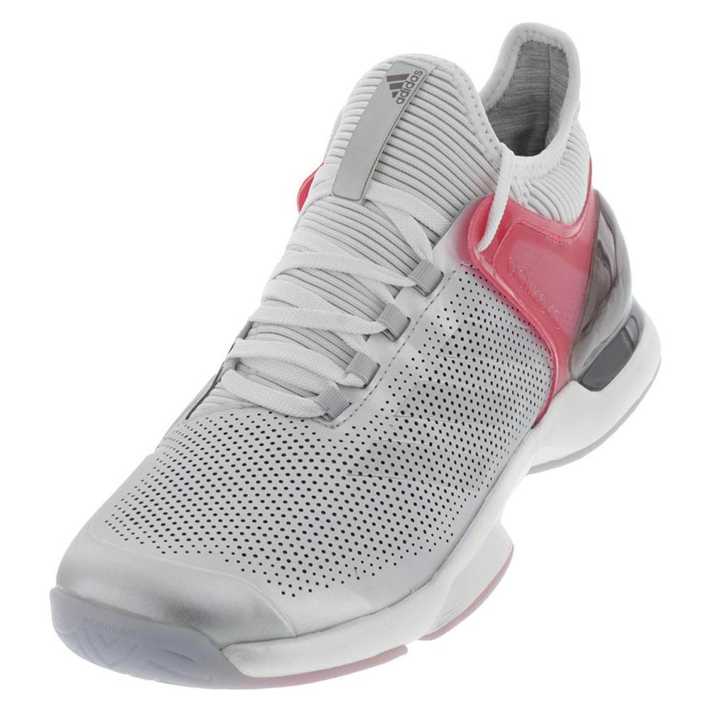 Men's Adizero Ubersonic 2 Ltd Tennis Shoes Matte Silver And Real Pink