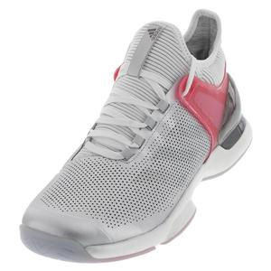 Men`s Adizero Ubersonic 2 LTD Tennis Shoes Matte Silver and Real Pink