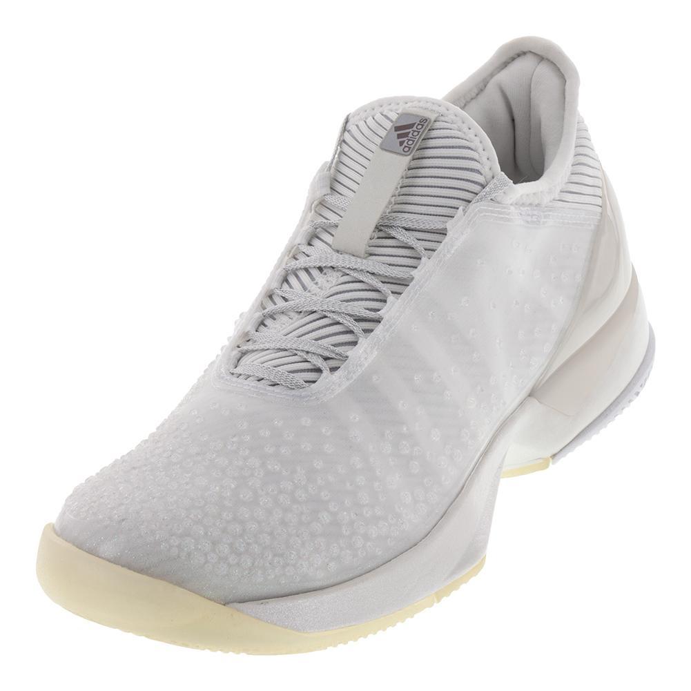 Women's Adizero Ubersonic 3 Ltd Tennis Shoes White And Lgh Solid Gray