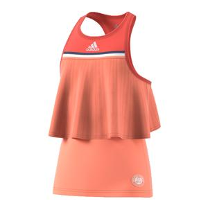 Girls` Roland Garros Tennis Tank Chalk Coral