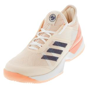 Women`s Adizero Ubersonic 3 Clay Tennis Shoes Ecru Tint and Noble Indigo