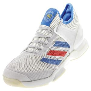 Men`s Adizero Ubersonic 50 Yrs LTD Tennis Shoes Off White and Signal Blue