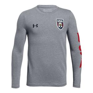 Boys` USA Patriot Long Sleeve Tee Steel Light Heather