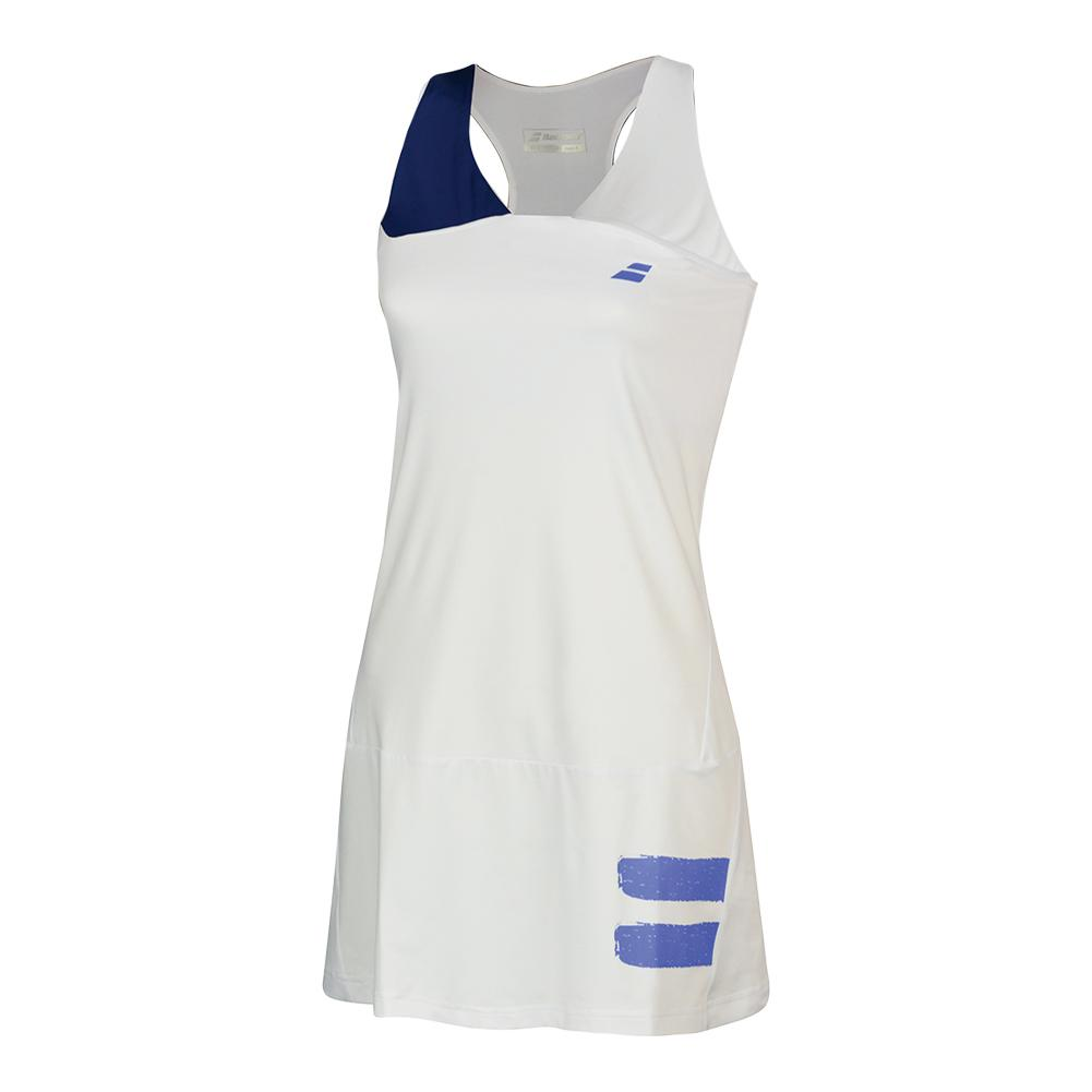 Women's Performance Racerback Tennis Dress White And Estate Blue