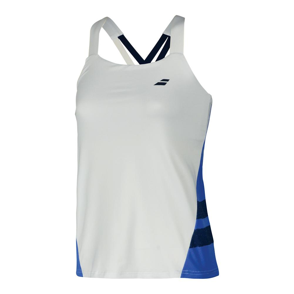 Women's Performance Strap Tennis Top White And Wedgewood