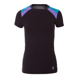 Women`s Force Short Sleeve Tennis Top Black