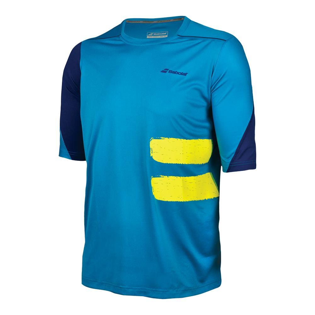 Men's Performance Compression Tennis Tee Mosaic Blue