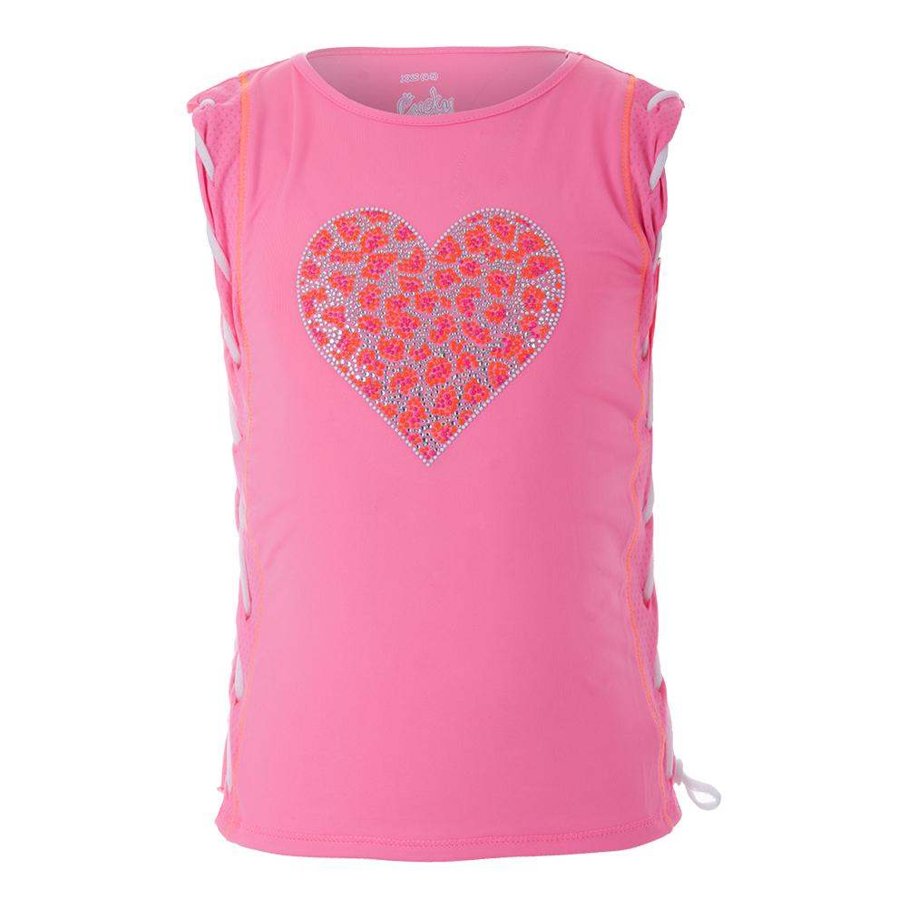 Girls ` Braided Muscle Tennis Tank Wild- At- Heart Pink