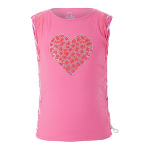 Girls` Braided Muscle Tennis Tank Wild-At-Heart Pink