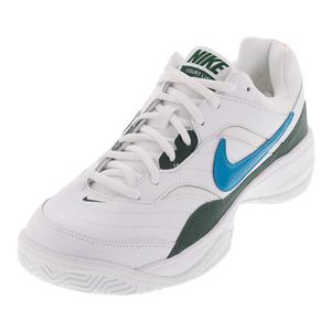 Men`s Court Lite Tennis Shoes White and Neo Turq
