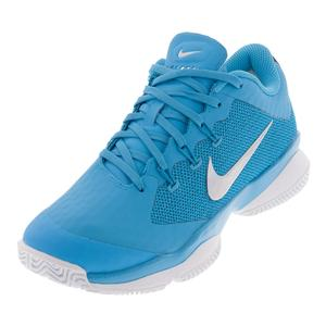 Women`s Air Zoom Ultra Tennis Shoes Light Blue Fury and White