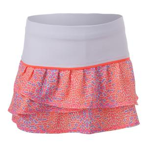 Girls` Pleat Tier Tennis Skort Neon Animal
