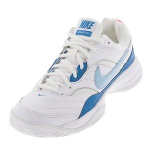 Women`s Court Lite Tennis Shoes White and Bleached Aqua
