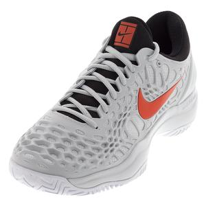 Men`s Zoom Cage 3 Tennis Shoes Pure Platinum and Habanero Red
