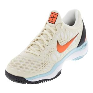 Men`s Zoom Cage 3 Tennis Shoes Light Cream and Hyper Crimson