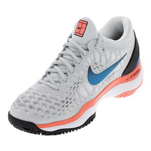 Women`s Zoom Cage 3 Tennis Shoes Pure Platinum and Blue Nebula