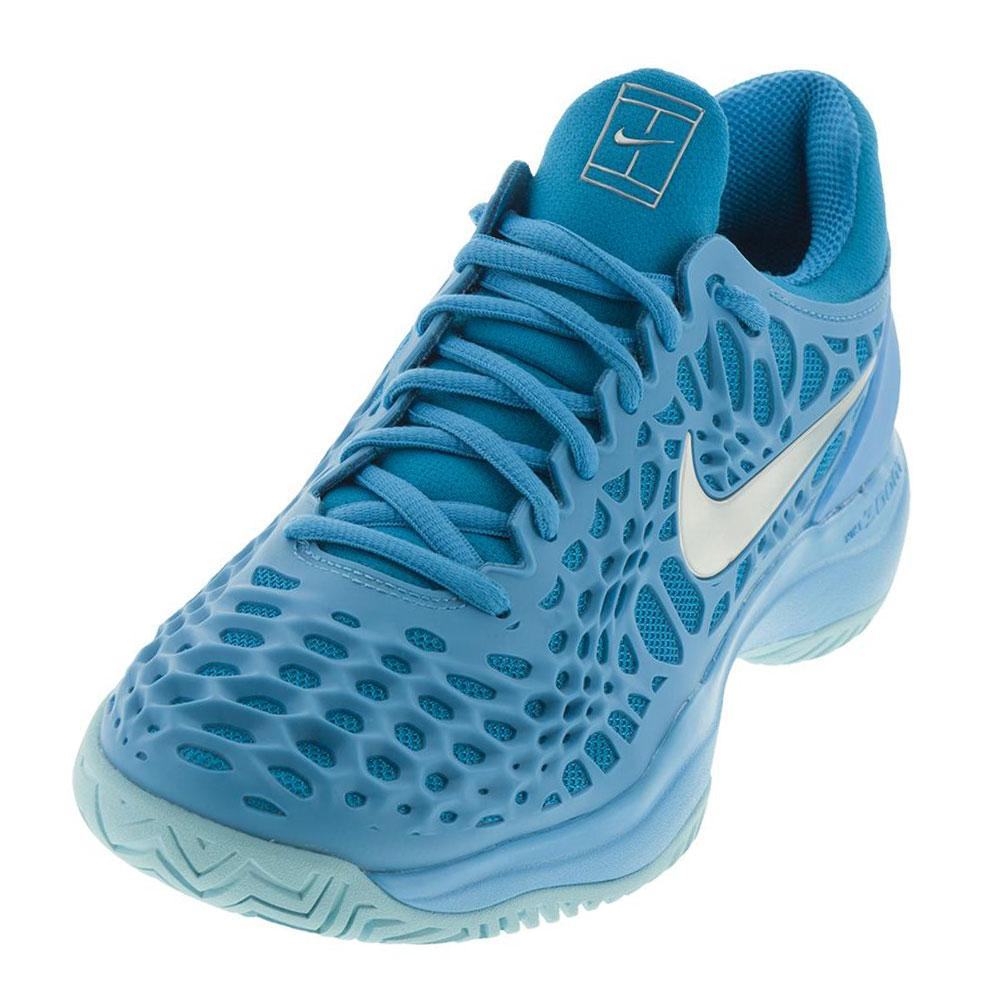 5911955c6d37 Nike Women s Zoom Cage 3 HC Tennis Shoes in Lite Blue Fury and Neon ...