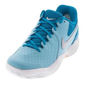 Women`s Air Zoom Resistance Tennis Shoes Bleached Aqua and Metallic Silver