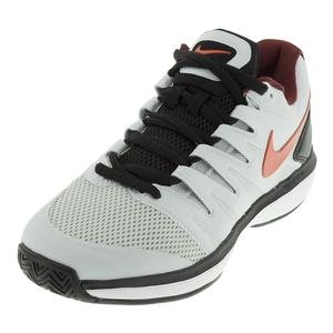 Men`s Air Zoom Prestige Tennis Shoes Pure Platinum and Habanero Red