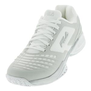 Men`s Axilus Energized Tennis Shoes White and Metallic Silver
