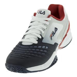 Men`s Axilus Energized Tennis Shoes White and Fila Navy