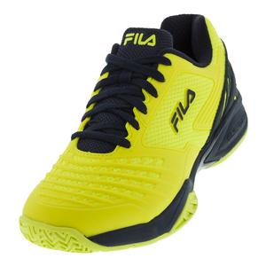 Men`s Axilus Energized Tennis Shoes Lemon Tonic and Fila Navy