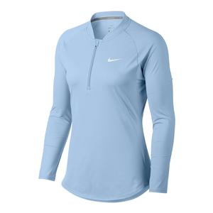 Women`s Court Pure Long Sleeve Half Zip Tennis Top Hydrogen Blue