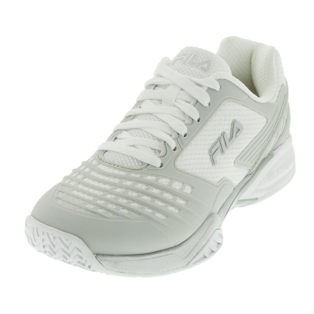Women's Axilus Energized Tennis Shoes White And Metallic Silver