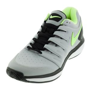Men`s Air Zoom Prestige Leather Tennis Shoes Wolf Gray and Volt Glow