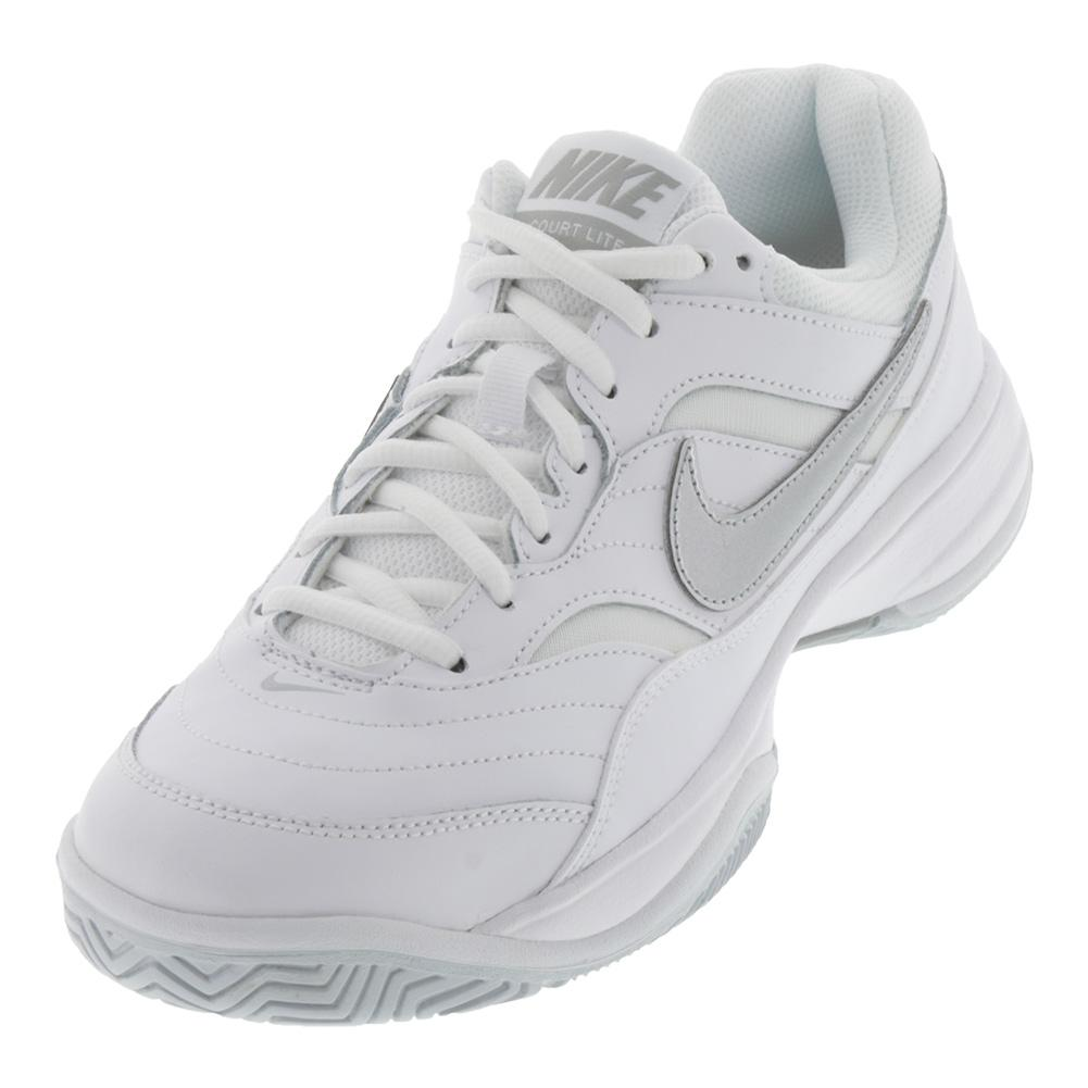67ae56fd Nike Women's Court Lite Wide Tennis Shoes White and Metallic Silver