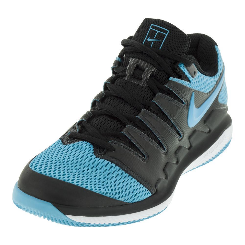 Juniors ` Air Zoom Vapor 10 Tennis Shoes Black And Gamma Blue