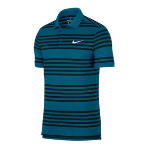 Men`s Court Dry Striped Tennis Polo Green Abyss and Black