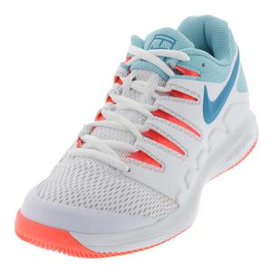 Women`s Air Zoom Vapor 10 Tennis Shoes White and Neo Turq