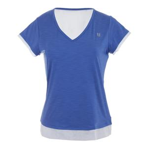 Women`s Lateral Short Sleeve Tennis Top Baja Blue