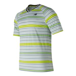 Men`s Tournament V Neck Tennis Top Tech Green and Hi-Lite