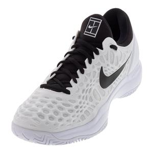 Juniors` Zoom Cage 3 Tennis Shoes White and Black