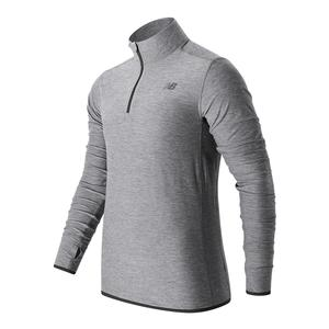 Men`s N Transit Quarter Zip Tennis Top Athletic Gray