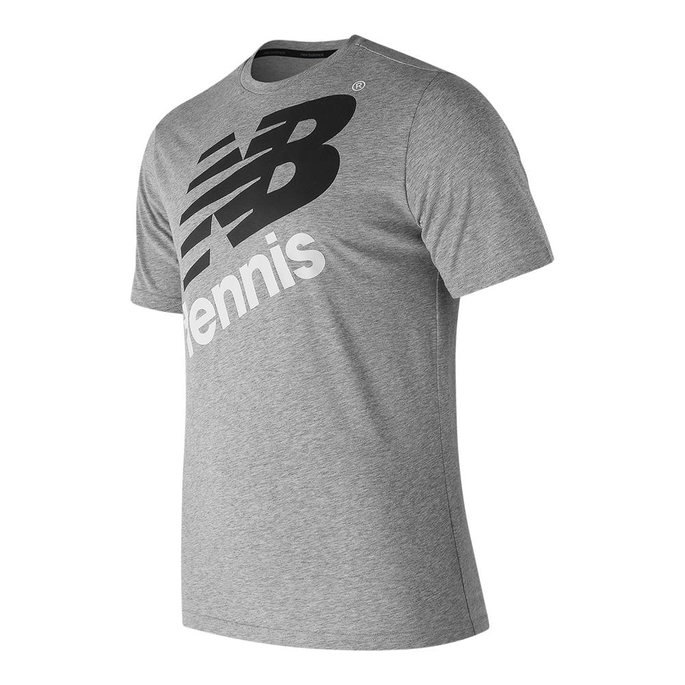 Men's Graphic Heathered Tennis Crew Athletic Gray