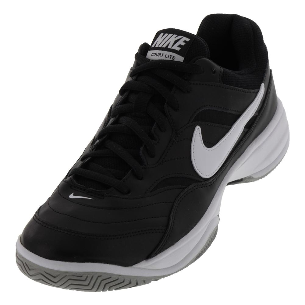 Nike Men's Court Lite Wide Tennis Shoes in Black and White