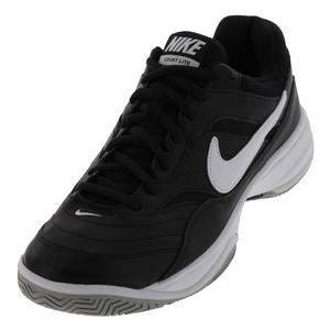 Men`s Court Lite Wide Tennis Shoes Black and White