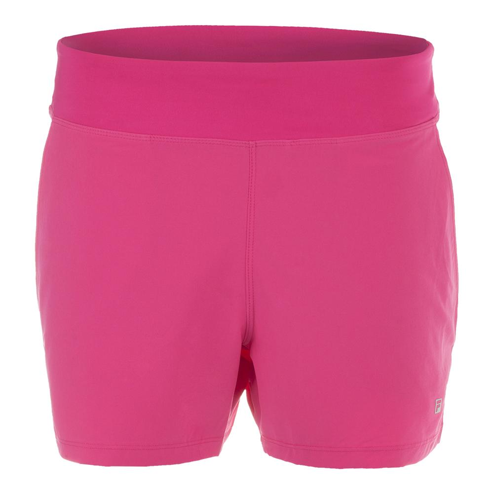 Women's Double Layer Tennis Short Raspberry Rose