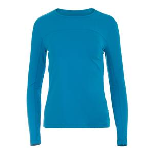 Women`s UV Blocker Long Sleeve Tennis Top Blue Atoll